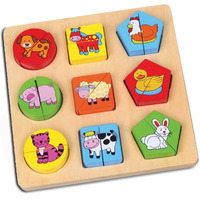 Viga Toys - Shape Block Farm Animals Puzzle