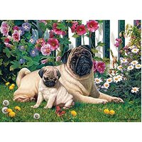 Cobble Hill - Pug Family Puzzle 1000pc