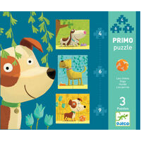 Djeco - Primo Puzzle Dogs 4, 6, 9pc