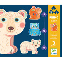 Djeco - Primo Puzzle In The Forest 9, 12, 16pcs