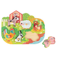Janod - Farm Peg Puzzle 6pc