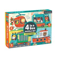 Mudpuppy - 4 in a Box Puzzle Set - Transportation