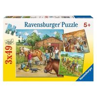 Ravensburger - A Day with Horses Puzzle - 3 x 49pc