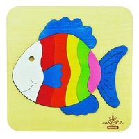 Andzee - Rainbow Fish Raised Puzzle 14pc
