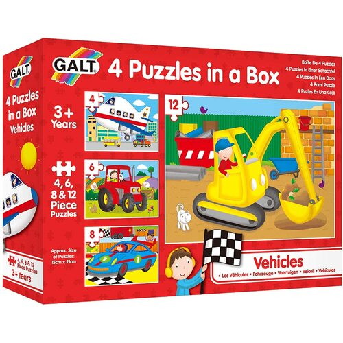 Galt - 4 Puzzles in a Box -Vehicles