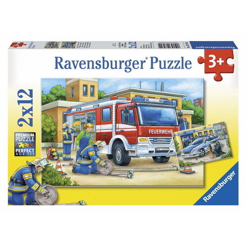 Ravensburger - Police and Firefighters Puzzle 2x12pc